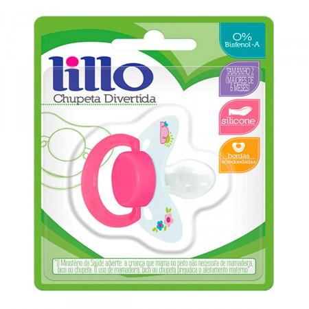 Chupeta de Silicone Lillo Divertida Tamanho 2 Cor Rosa