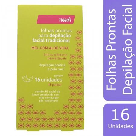 Folhas Prontas para Depilação Facial Needs Mel com Aloe Vera