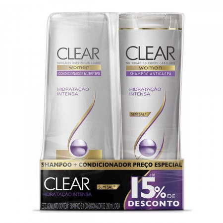 Kit Shampoo + Condicionador Anticaspa Clear Women Hidratação Intensa