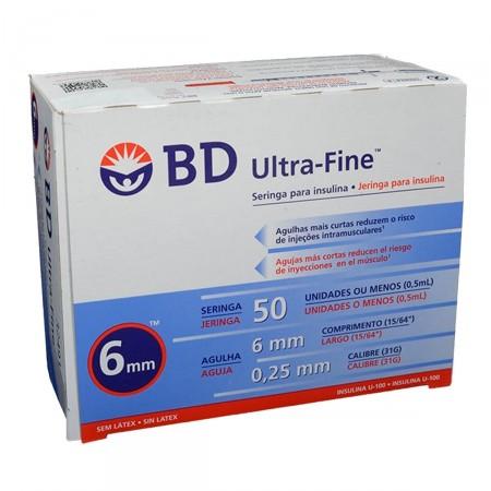 Seringa de Insulina Ultra-Fine 6mm 50UI