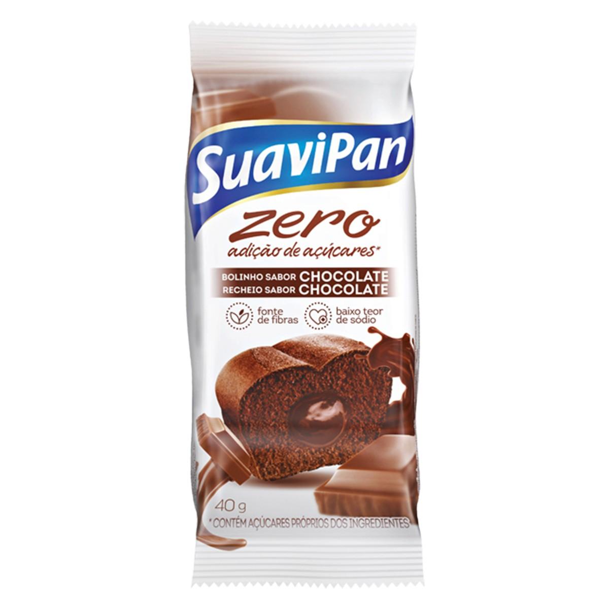 Bolinho Zero Açúcar Sabor Chocolate Suavipan 40g