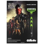 Kit Aparelho de Barbear Gillette Mach3 Sensitive Liga da Justiça + 2 Cargas